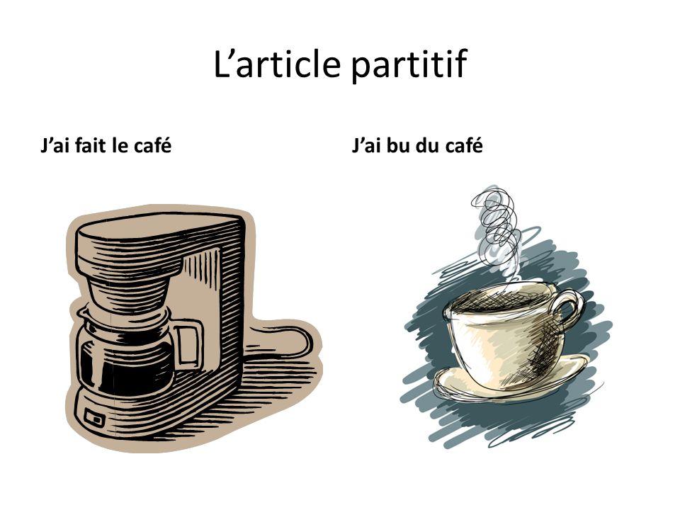 L'article partitif J'ai fait le café J'ai bu du café