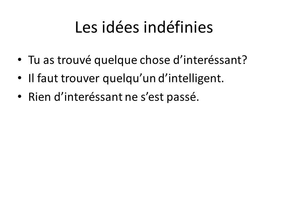 Les idées indéfinies Tu as trouvé quelque chose d'interéssant