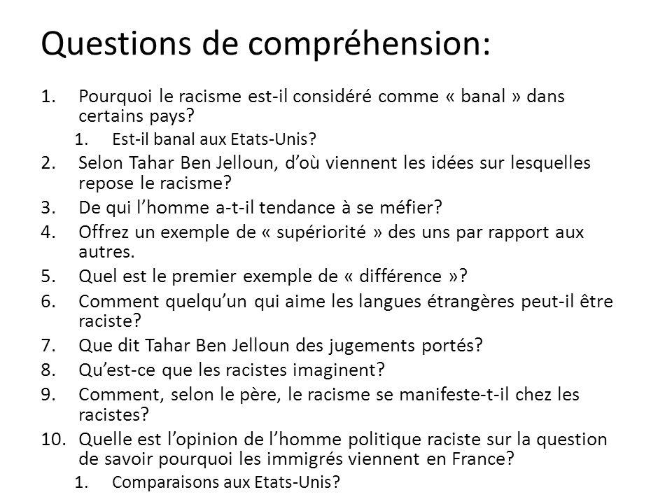 Questions de compréhension: