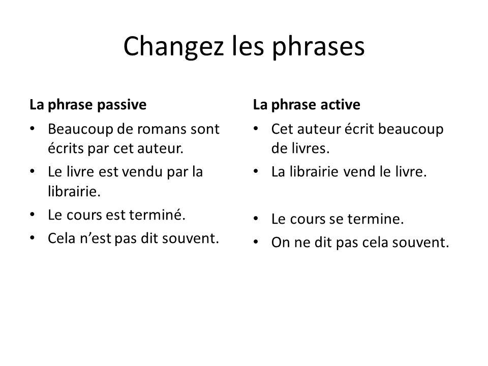 Changez les phrases La phrase passive La phrase active