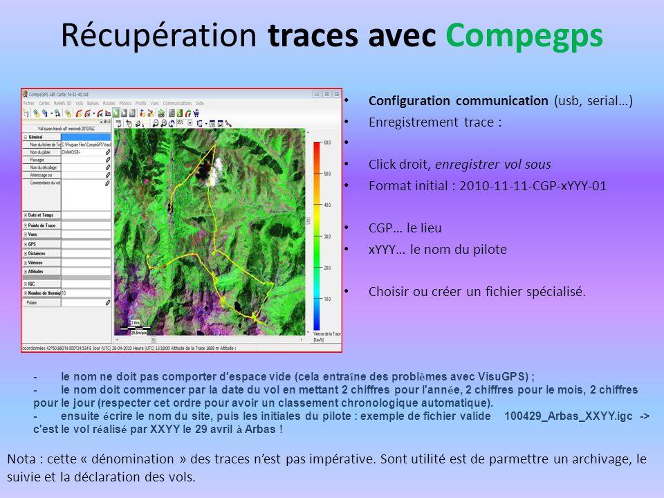 Récupération traces avec Compegps