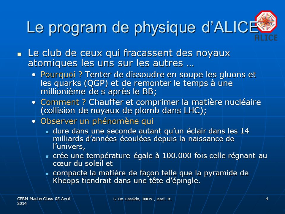 Le program de physique d'ALICE