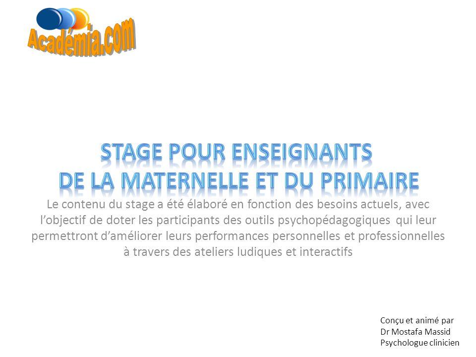 Stage pour enseignants de la maternelle et du primaire