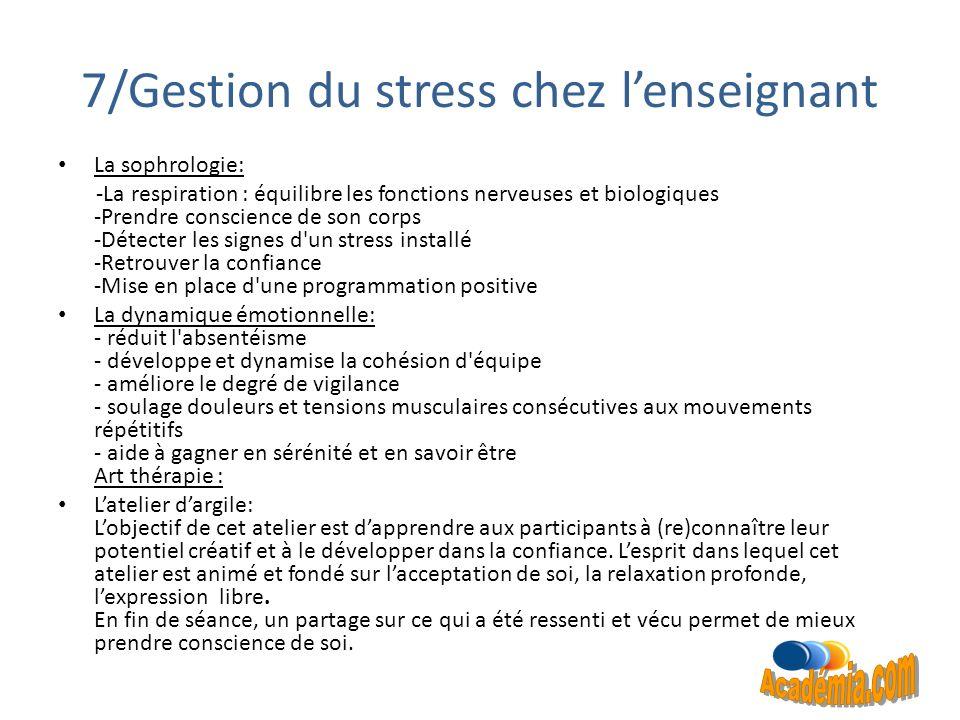 7/Gestion du stress chez l'enseignant