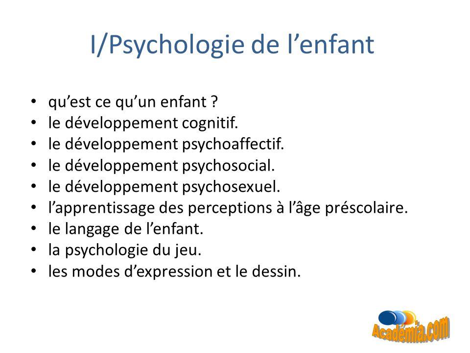 I/Psychologie de l'enfant