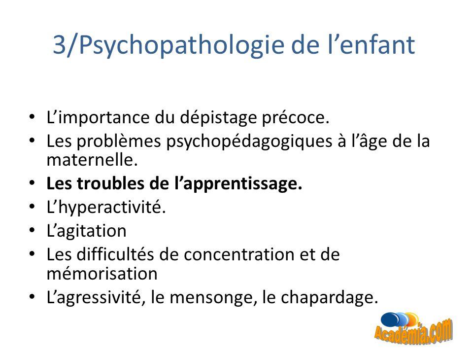 3/Psychopathologie de l'enfant