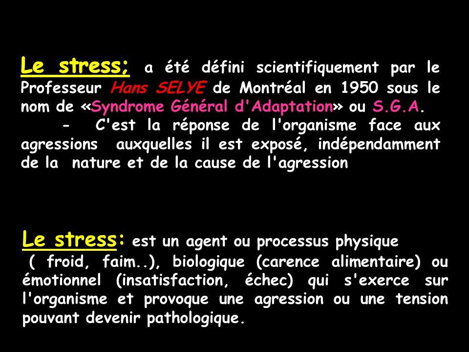 Le stress: est un agent ou processus physique