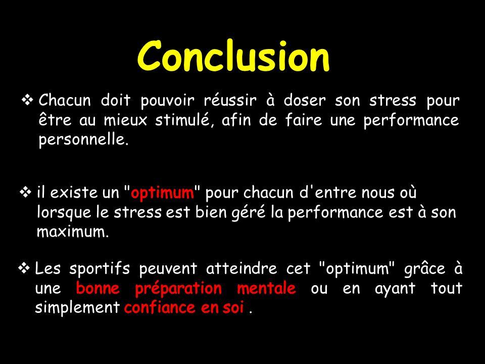Conclusion Chacun doit pouvoir réussir à doser son stress pour être au mieux stimulé, afin de faire une performance personnelle.