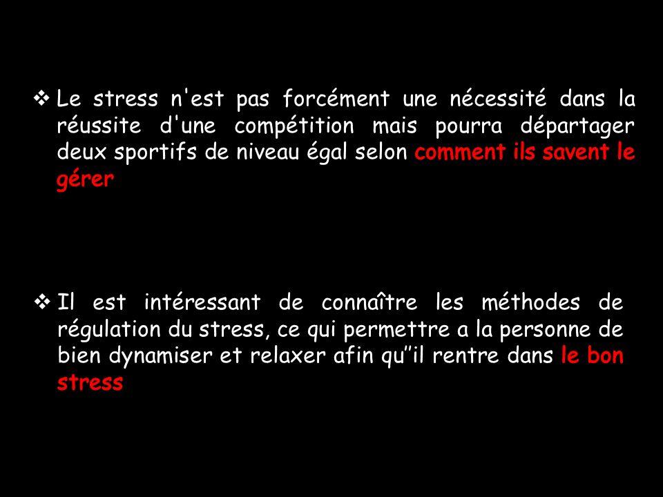 Le stress n est pas forcément une nécessité dans la réussite d une compétition mais pourra départager deux sportifs de niveau égal selon comment ils savent le gérer