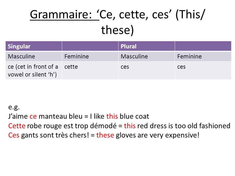 Grammaire: 'Ce, cette, ces' (This/ these)