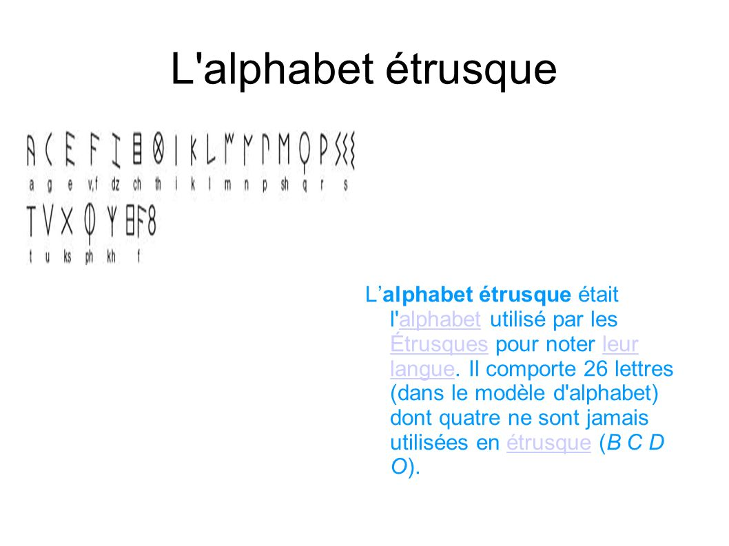 L alphabet étrusque a.