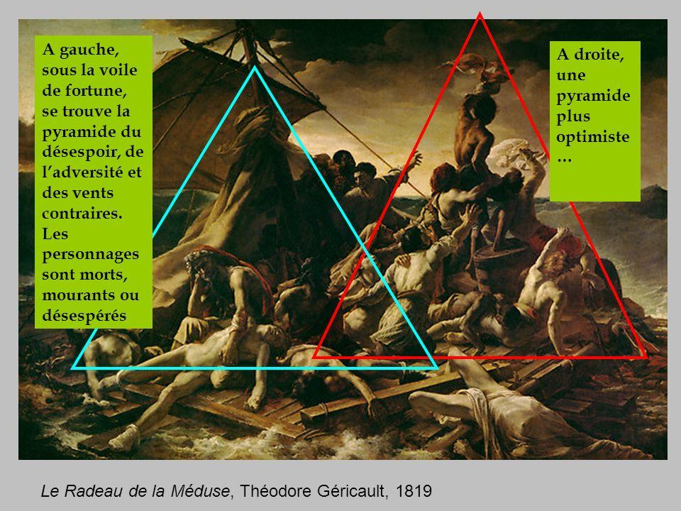 A gauche, sous la voile de fortune, se trouve la pyramide du désespoir, de l'adversité et des vents contraires. Les personnages sont morts, mourants ou désespérés