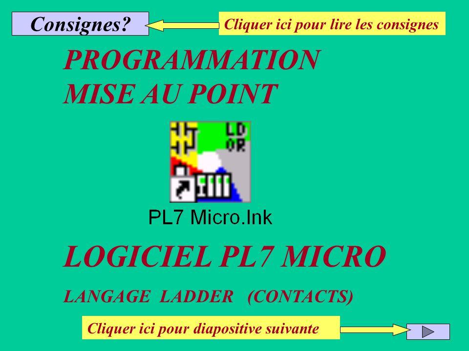 LOGICIEL PL7 MICRO PROGRAMMATION MISE AU POINT Consignes