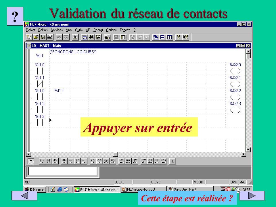 Validation du réseau de contacts