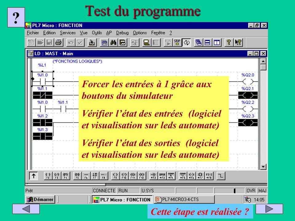 Test du programme Forcer les entrées à 1 grâce aux boutons du simulateur.