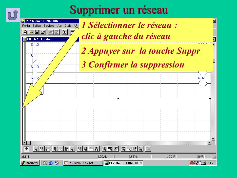 Supprimer un réseau 1 Sélectionner le réseau : clic à gauche du réseau