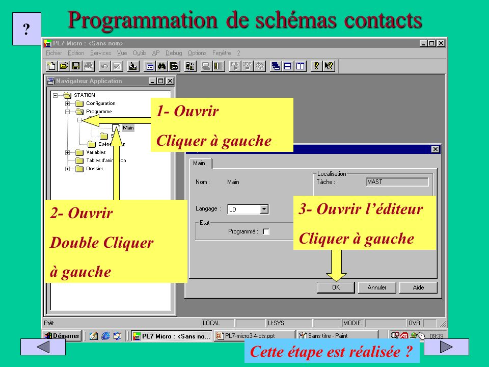 Programmation de schémas contacts