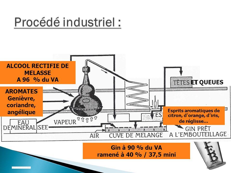 Procédé industriel : ALCOOL RECTIFIE DE MELASSE A 96 % du VA ET QUEUES
