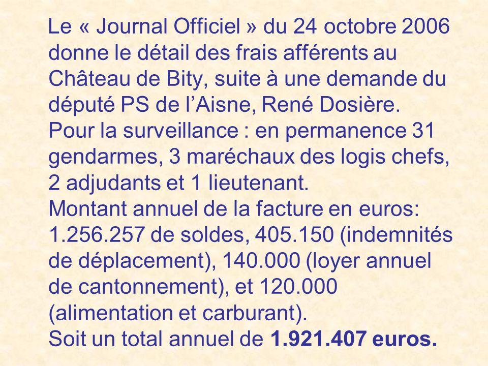 Le « Journal Officiel » du 24 octobre 2006 donne le détail des frais afférents au Château de Bity, suite à une demande du député PS de l'Aisne, René Dosière.