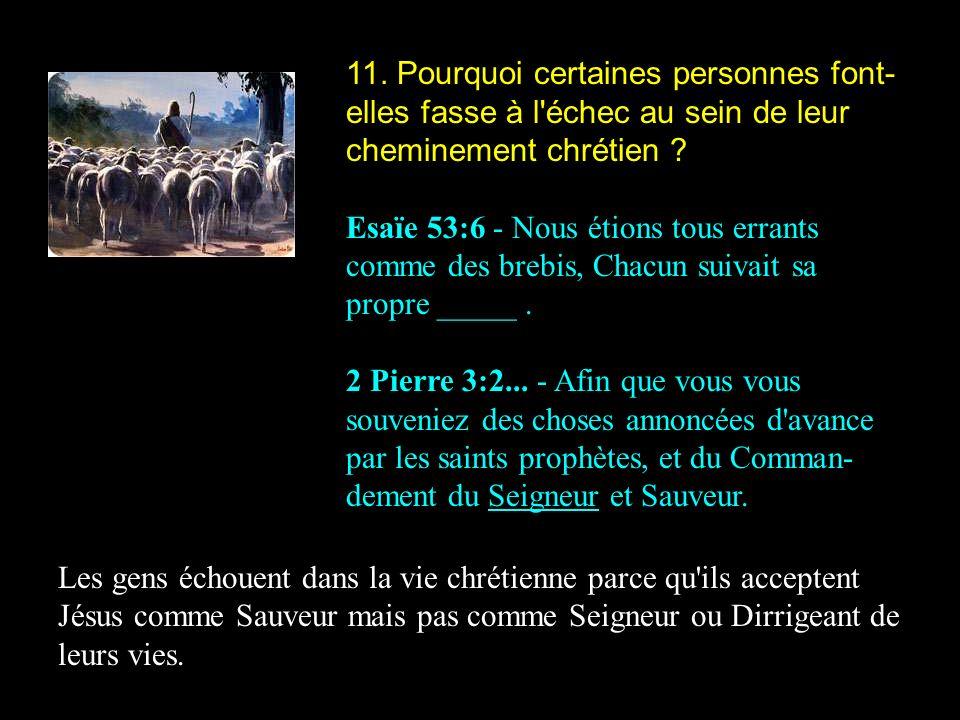 11. Pourquoi certaines personnes font-elles fasse à l échec au sein de leur cheminement chrétien