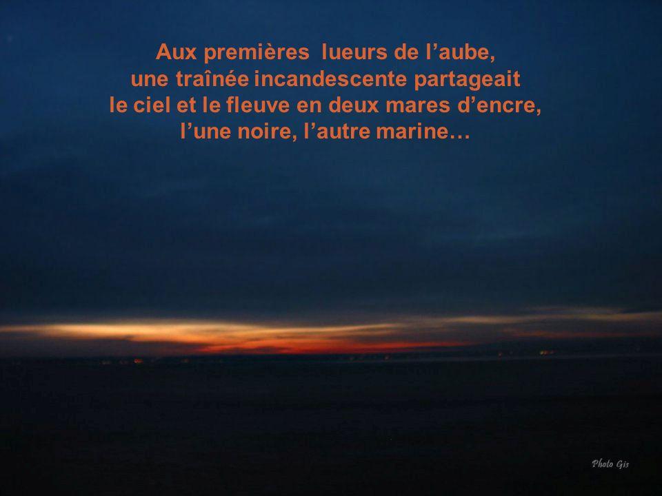 Aux premières lueurs de l'aube, une traînée incandescente partageait le ciel et le fleuve en deux mares d'encre, l'une noire, l'autre marine…