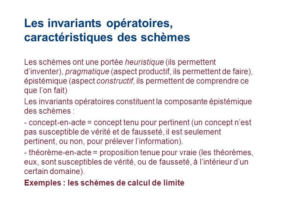 Les invariants opératoires, caractéristiques des schèmes