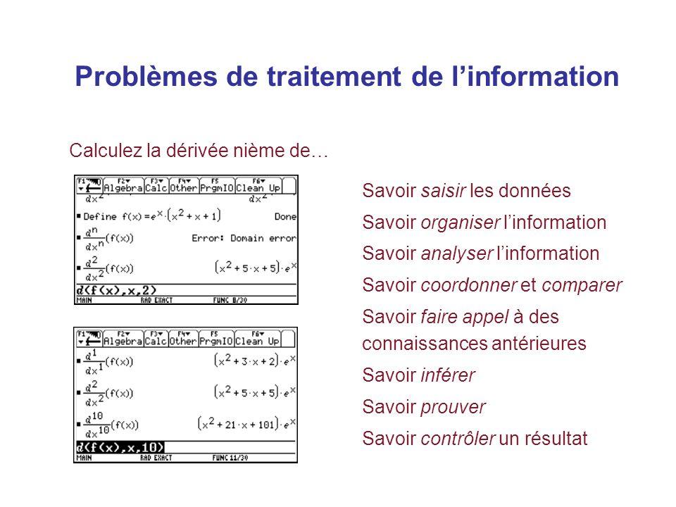Problèmes de traitement de l'information