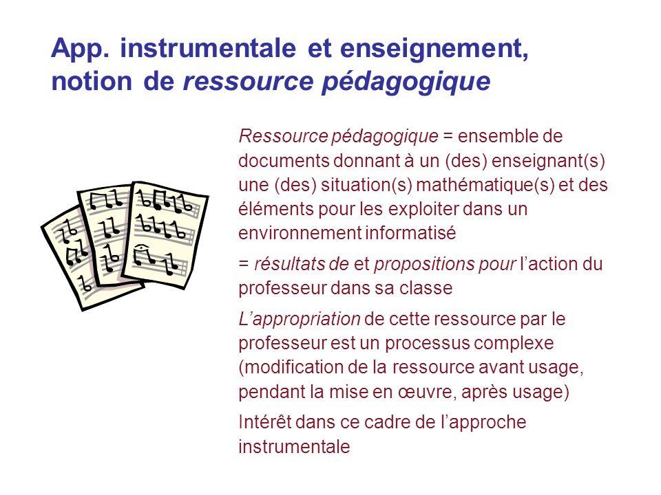 App. instrumentale et enseignement, notion de ressource pédagogique