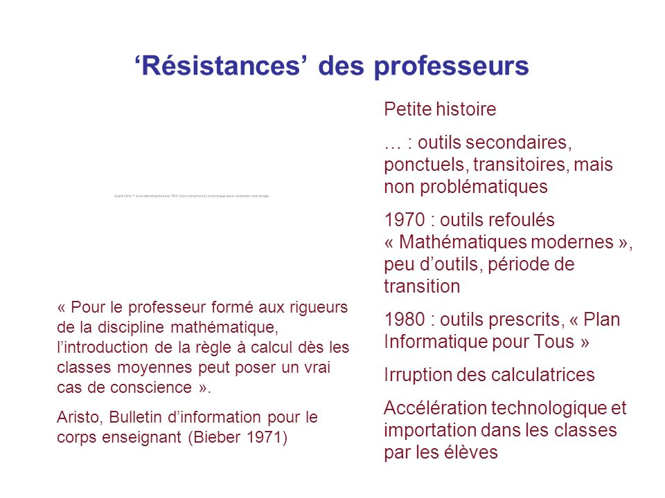'Résistances' des professeurs