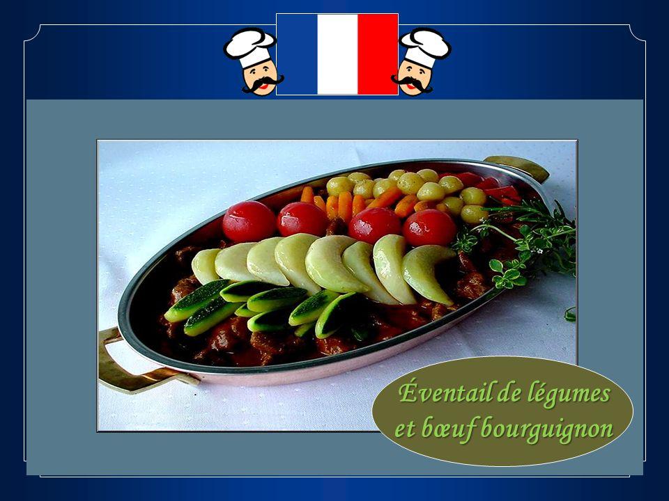 Éventail de légumes et bœuf bourguignon