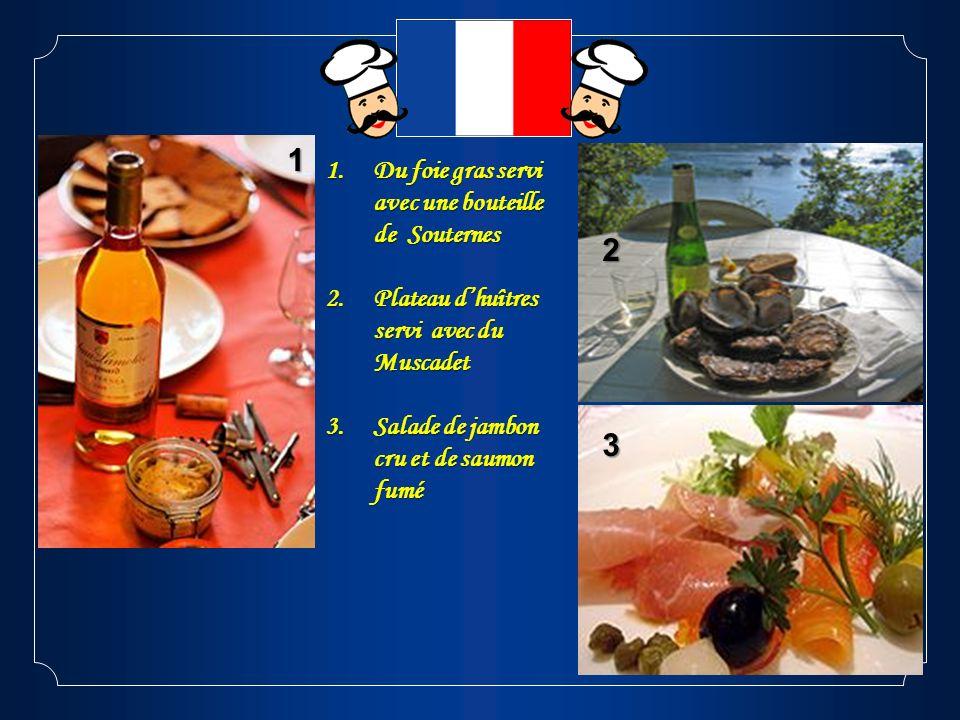1 2 3 Du foie gras servi avec une bouteille de Souternes