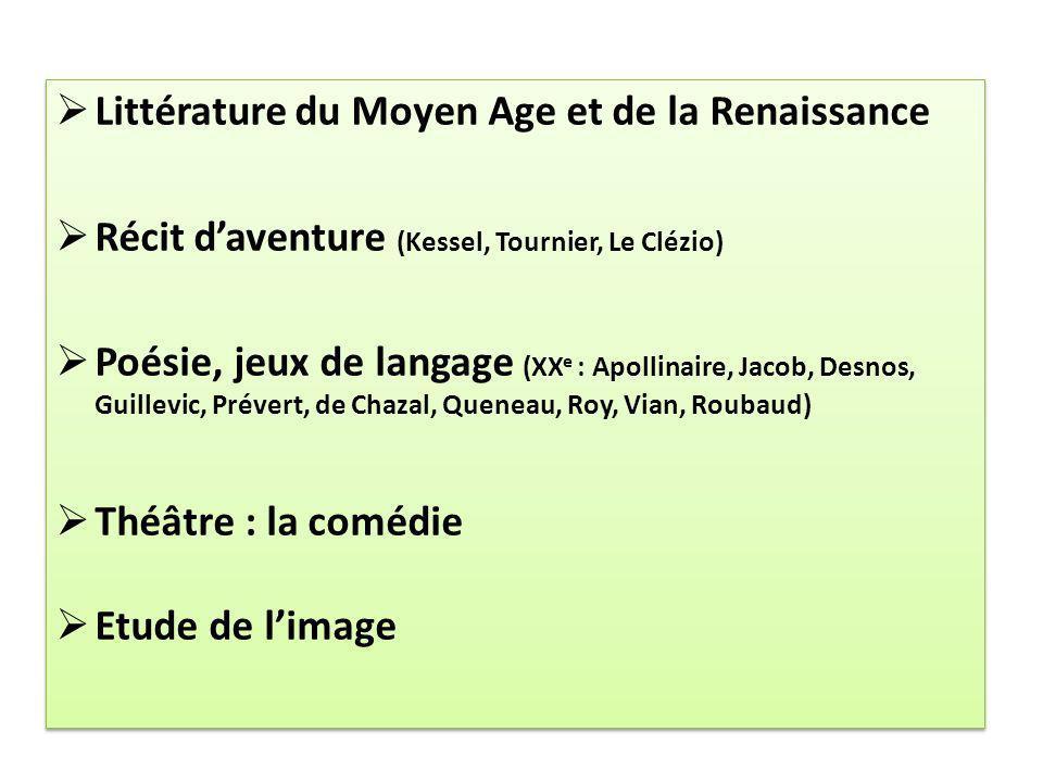 Littérature du Moyen Age et de la Renaissance
