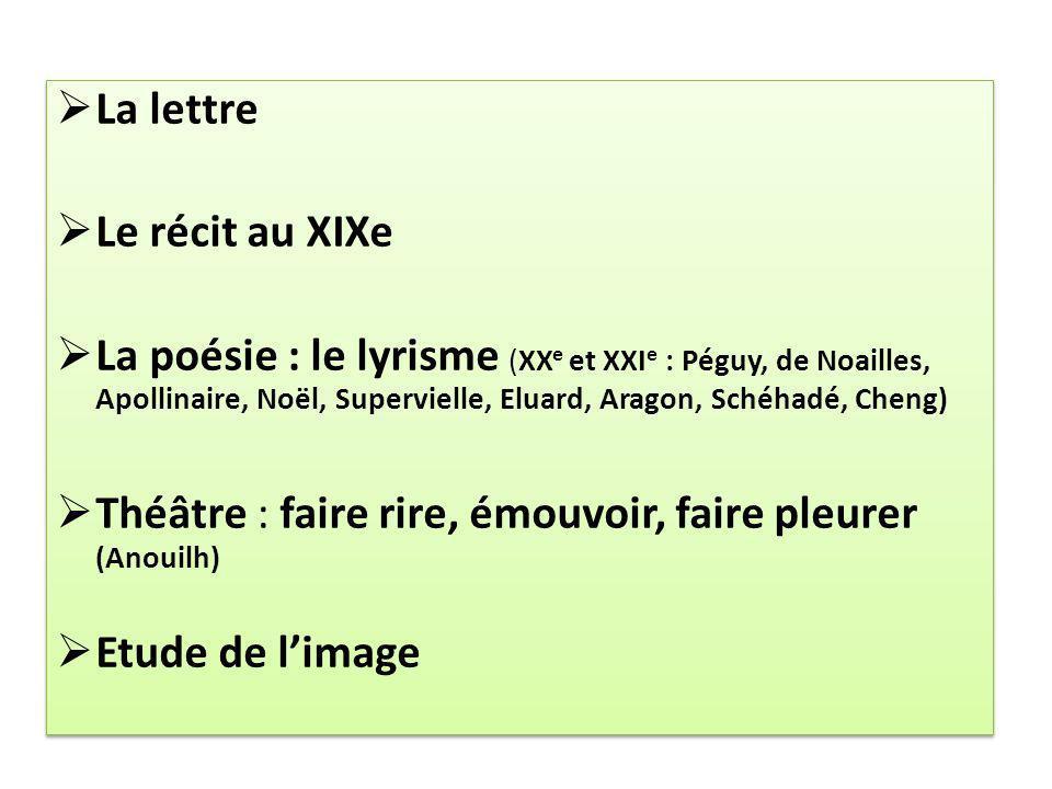 La lettre Le récit au XIXe.