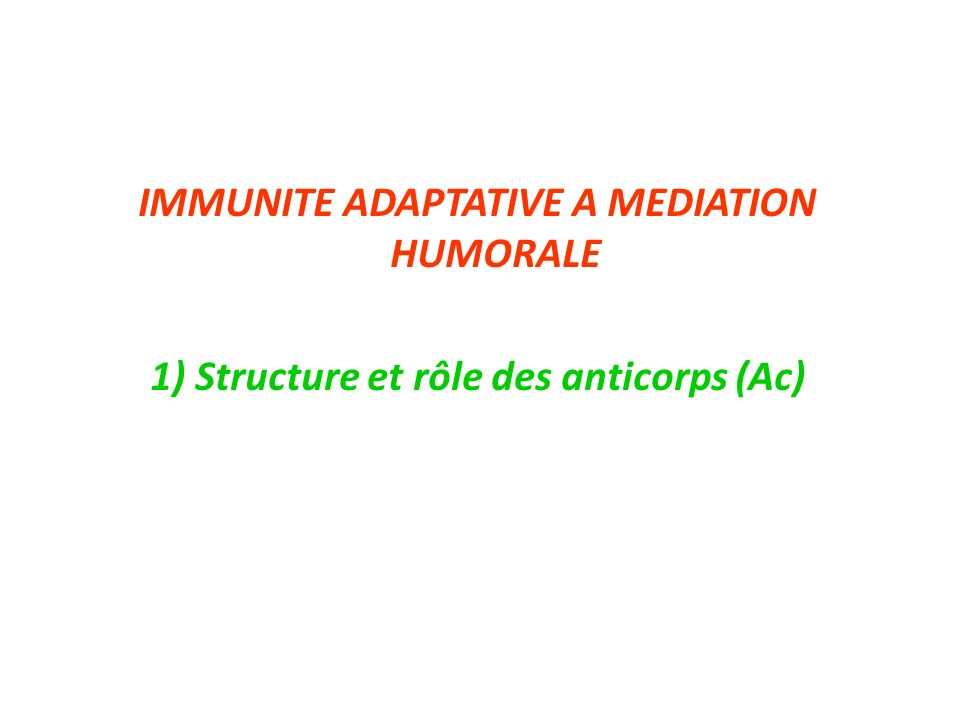 IMMUNITE ADAPTATIVE A MEDIATION HUMORALE 1) Structure et rôle des anticorps (Ac)