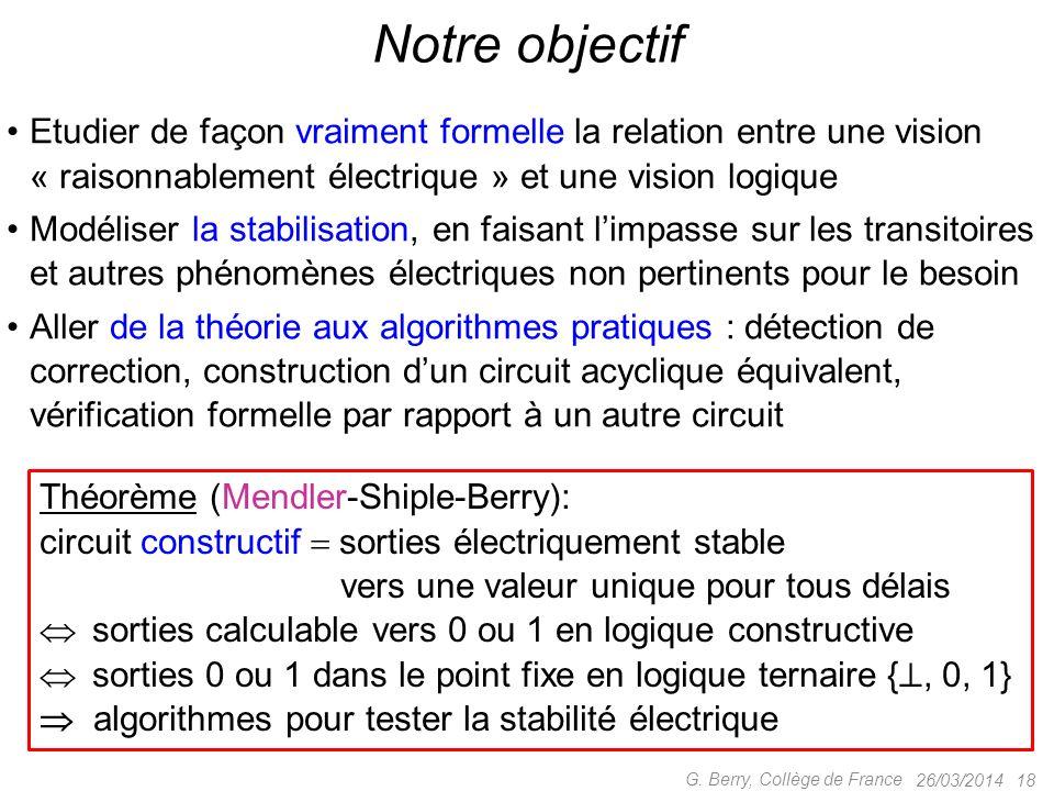 Notre objectif Etudier de façon vraiment formelle la relation entre une vision « raisonnablement électrique » et une vision logique.