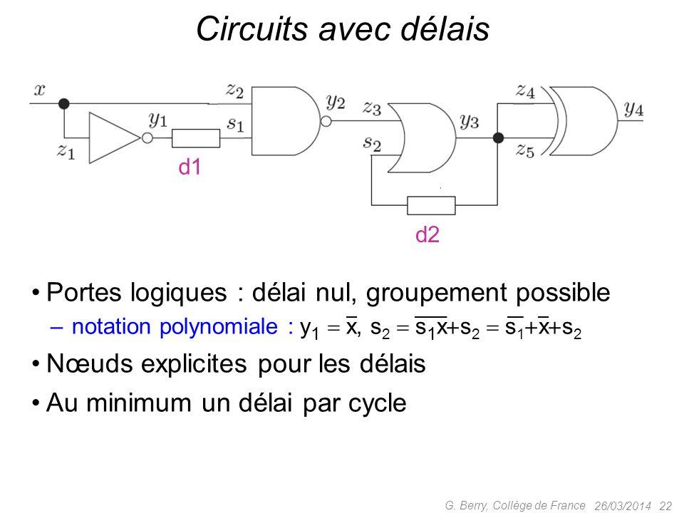Circuits avec délais Portes logiques : délai nul, groupement possible