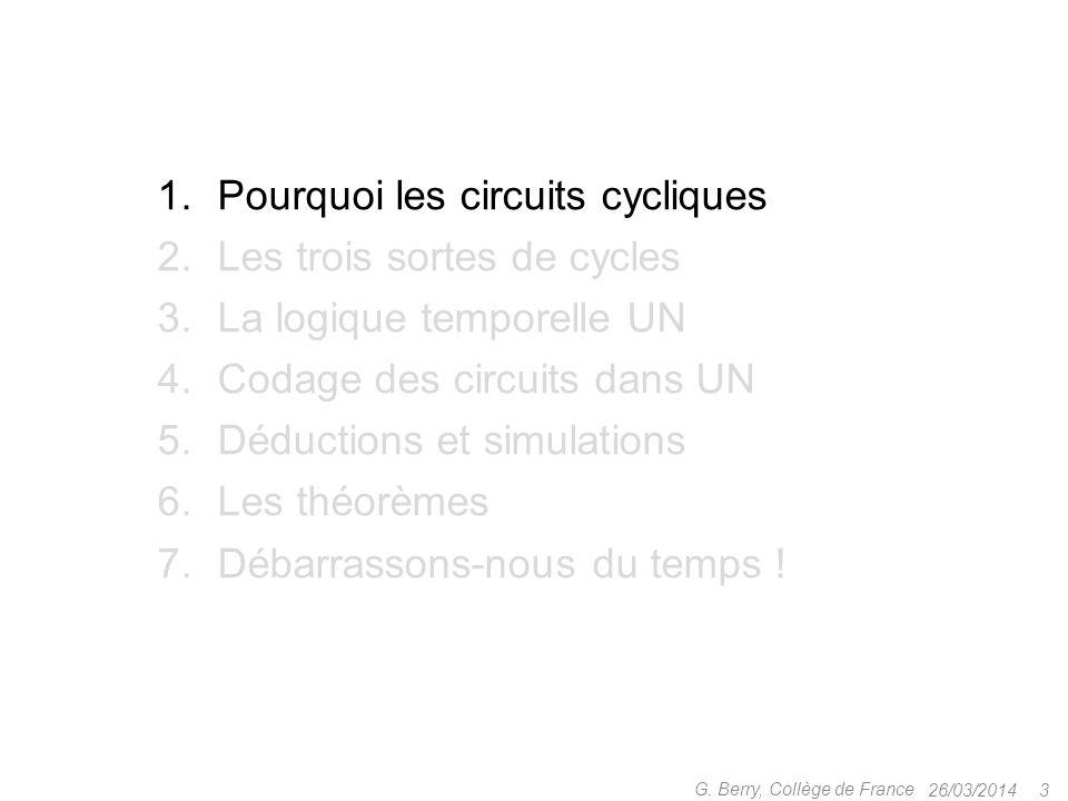 Pourquoi les circuits cycliques Les trois sortes de cycles