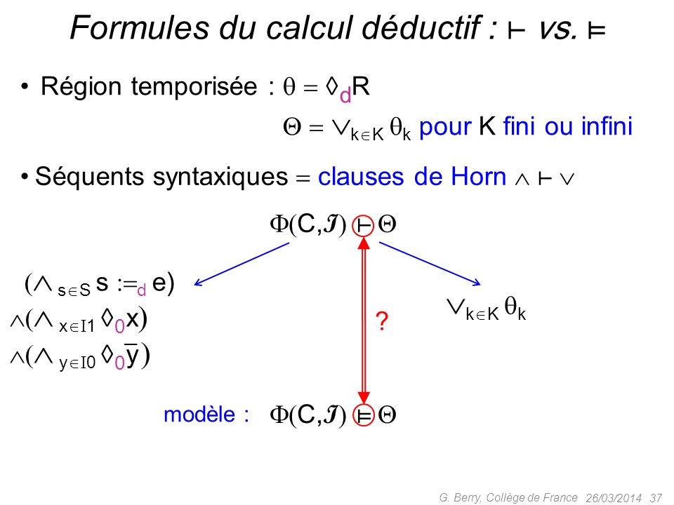 Formules du calcul déductif : ⊢ vs. ⊨
