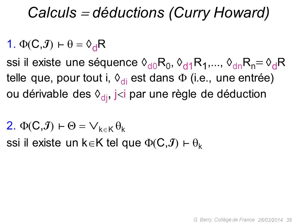 Calculs  déductions (Curry Howard)
