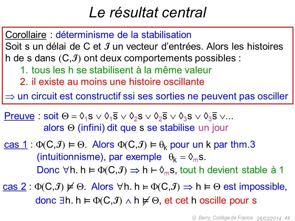 Le résultat central Corollaire : déterminisme de la stabilisation