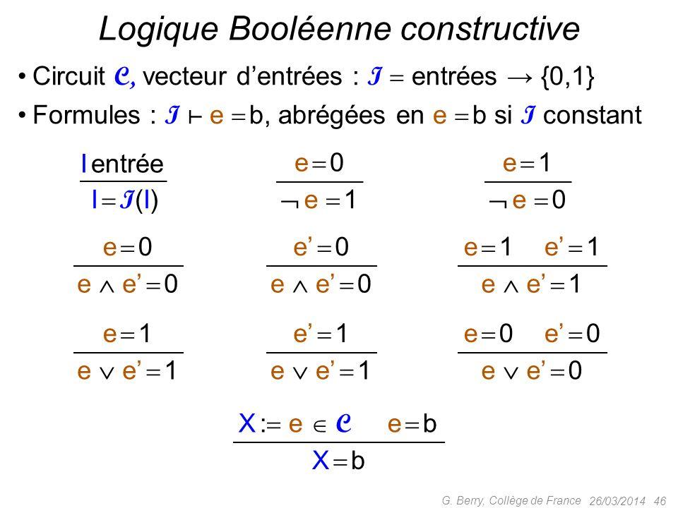 Logique Booléenne constructive