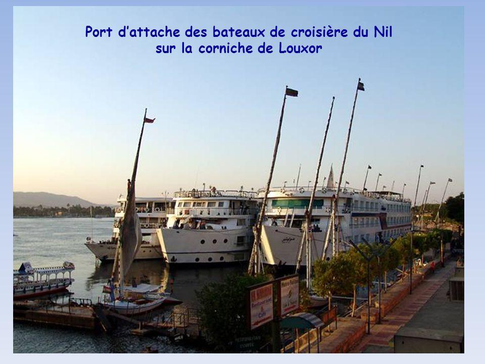 Port d'attache des bateaux de croisière du Nil sur la corniche de Louxor
