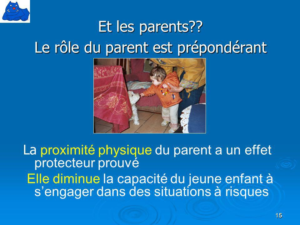 Et les parents Le rôle du parent est prépondérant