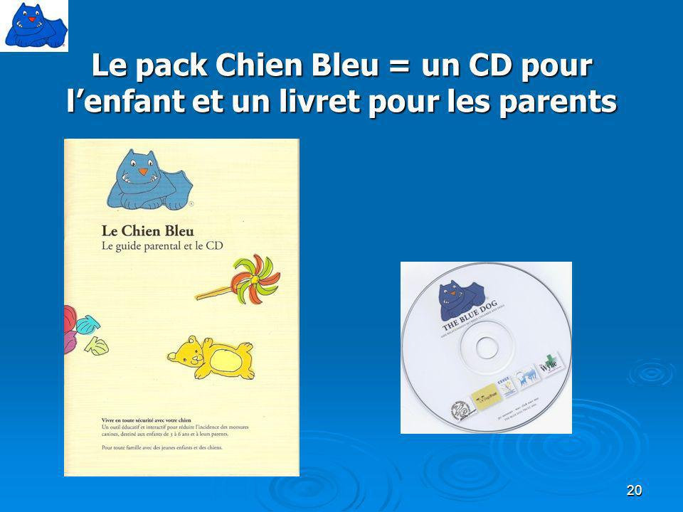 Le pack Chien Bleu = un CD pour l'enfant et un livret pour les parents