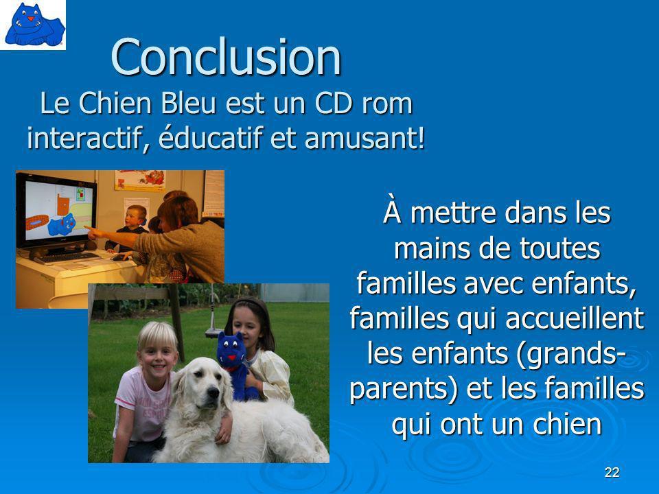 Conclusion Le Chien Bleu est un CD rom interactif, éducatif et amusant!
