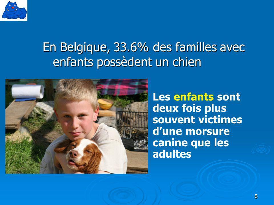 En Belgique, 33.6% des familles avec enfants possèdent un chien