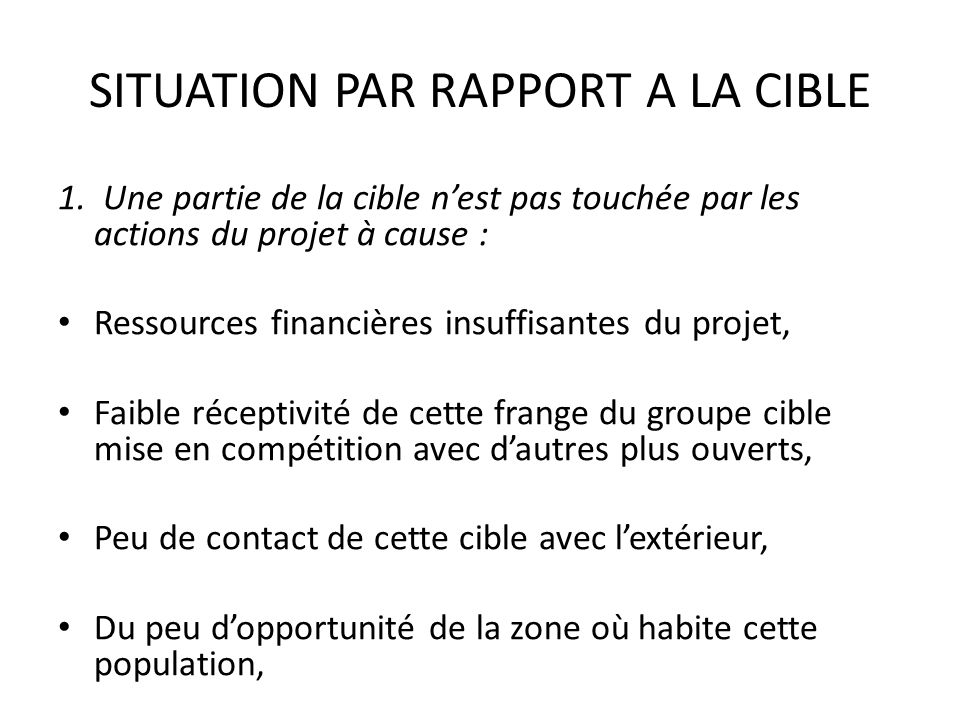 SITUATION PAR RAPPORT A LA CIBLE