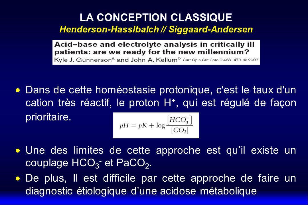 LA CONCEPTION CLASSIQUE Henderson-Hasslbalch // Siggaard-Andersen
