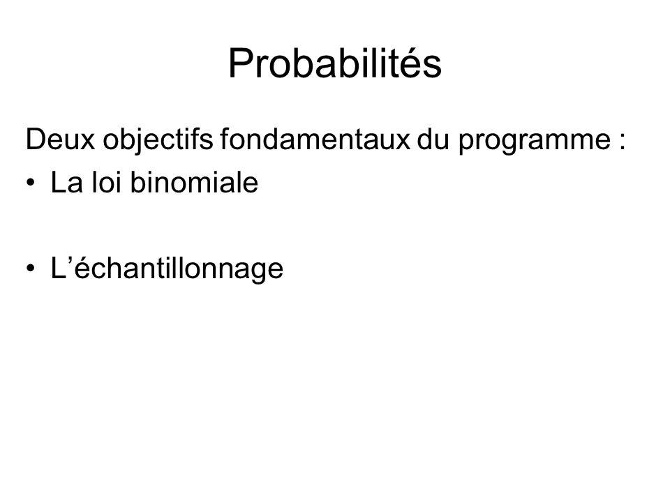 Probabilités Deux objectifs fondamentaux du programme :
