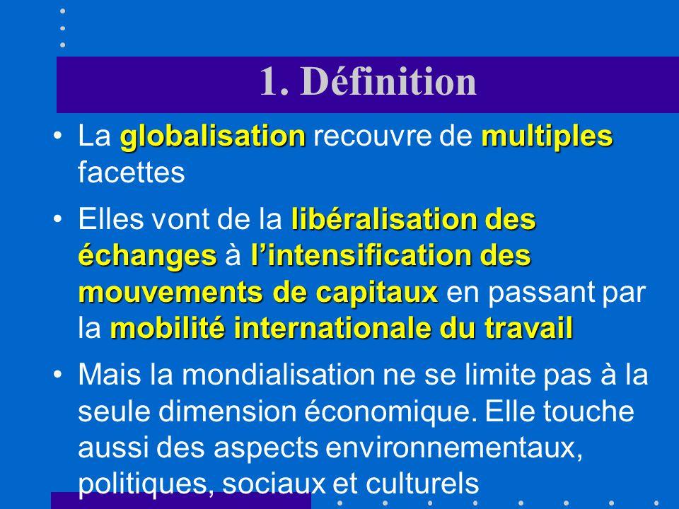 1. Définition La globalisation recouvre de multiples facettes
